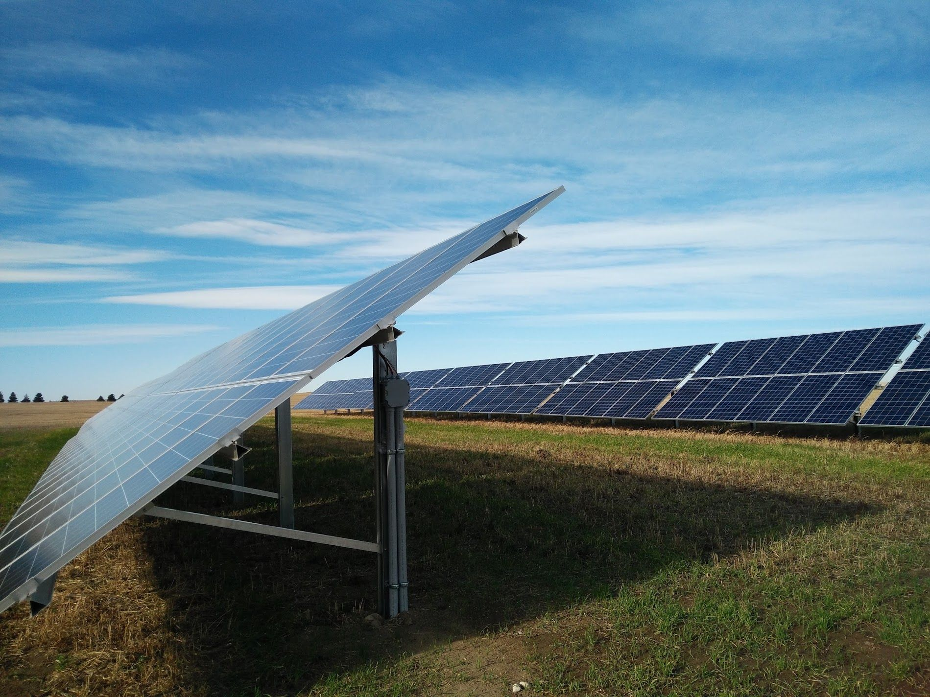 Solar panels installed at ground-mounted system