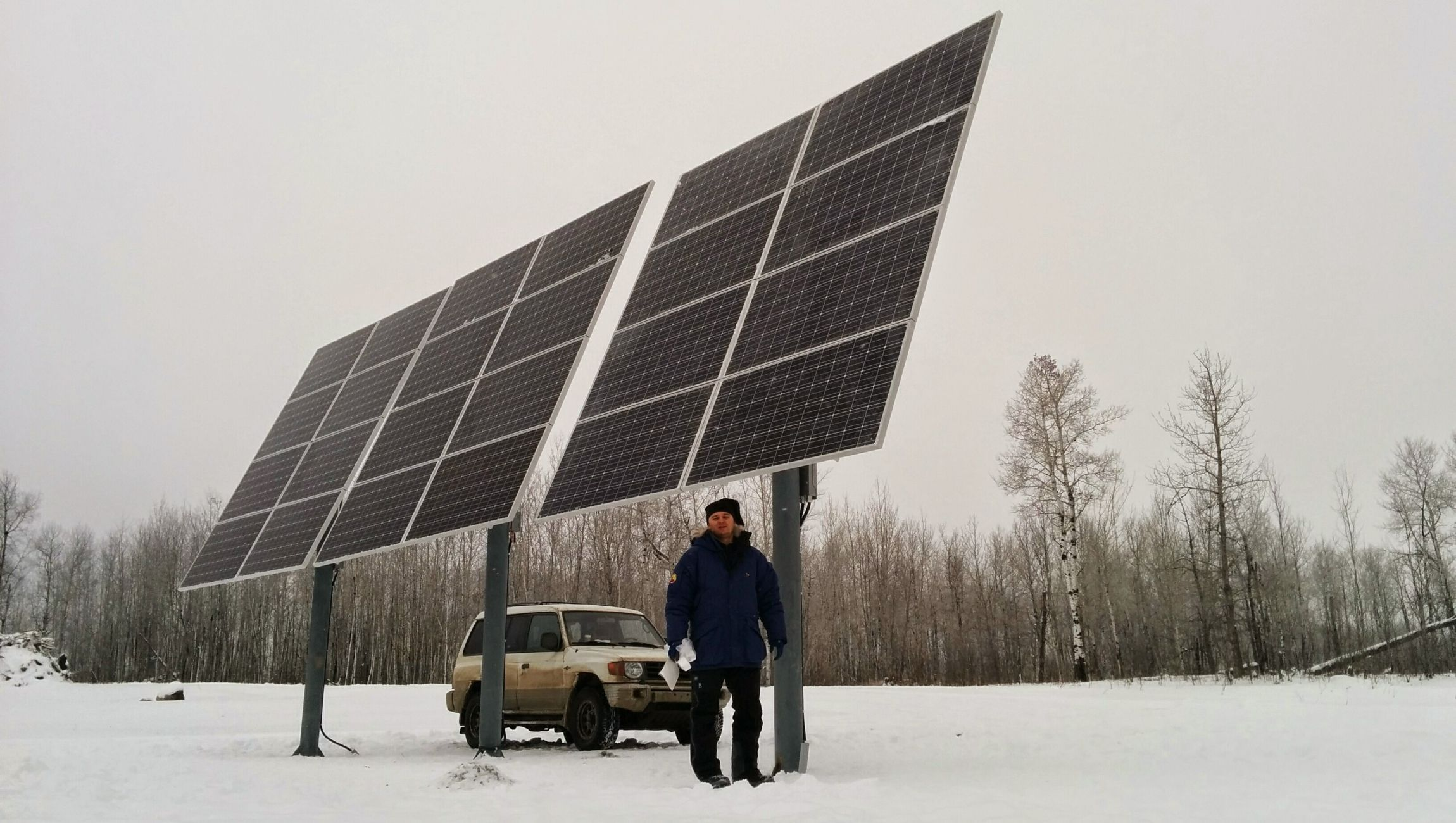 High pitch solar panels installed for off-grid